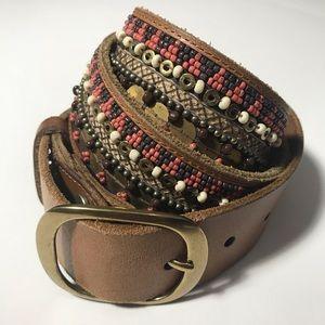 Lucky Brand Boho Embellished Beaded Brown Belt